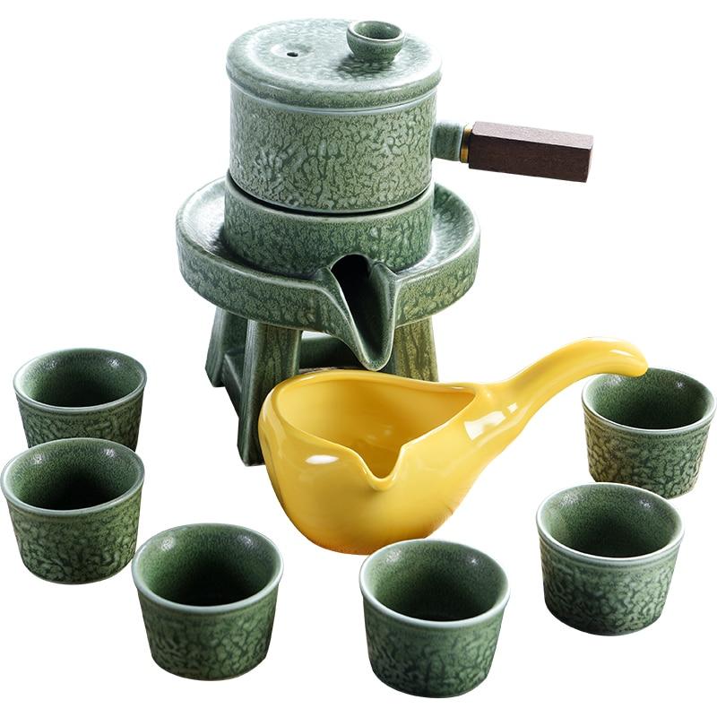 Belle ensemble de thé contracté paresseux ménage kung fu ensemble de thé théière en céramique semi automatique restauration anciennes façons