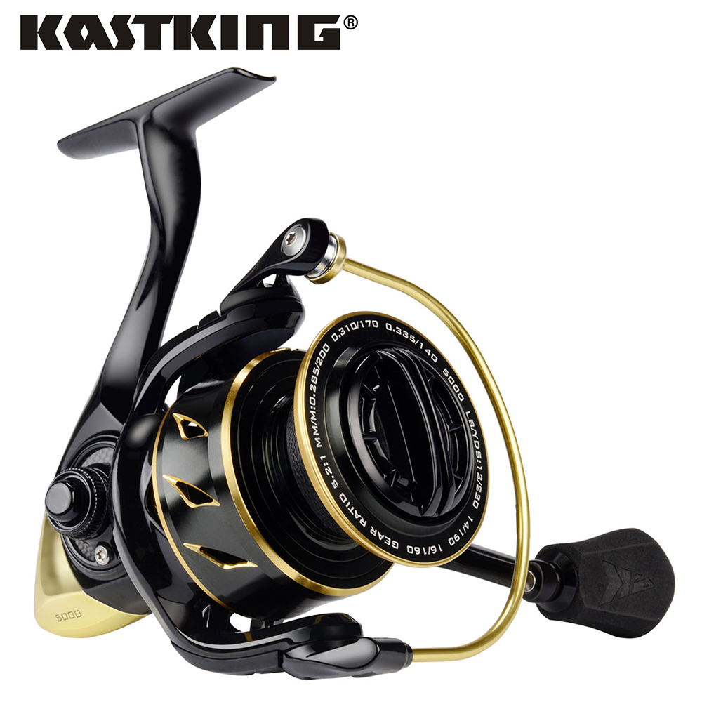 KastKing Sharky III Gold 5 2 1 Gear Ratio Full Metal Spinning Reel 18KG Max Drag