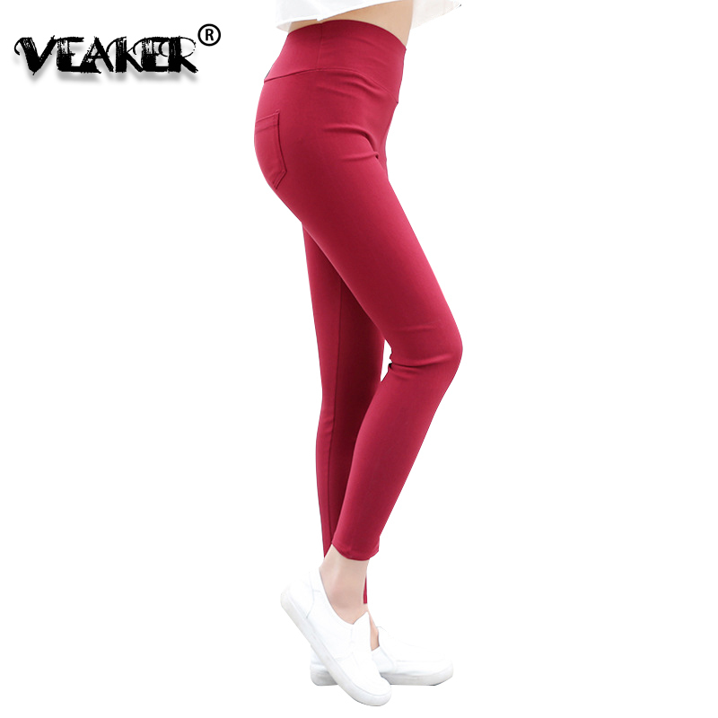 7 Colors Womens Pencil Pants High Waist Skinny Pants Slim Stretch Pencil Pant Trousers 2018 Fashion Red Black Blue White Pink