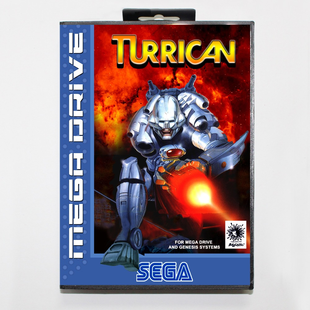 Turrican 16 bit MD card with Retail box for Sega MegaDrive Video Game console system