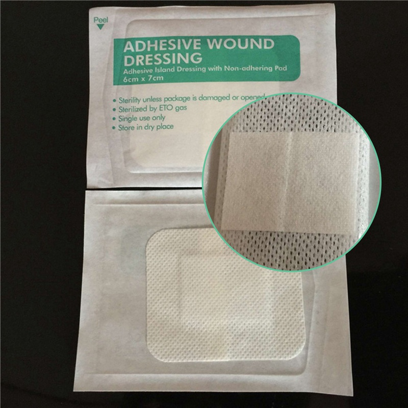 10PCs Hypoallergenic Non-woven   Adhesive Wound Dressing Band Aid Bandage Large Wound First Aid Outdoor