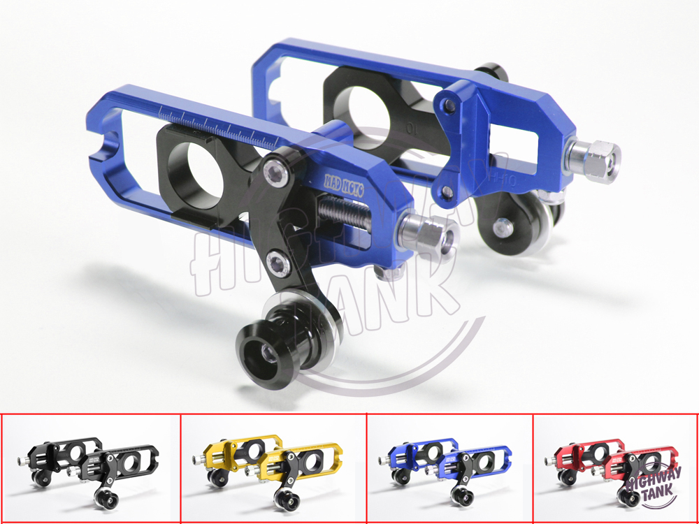 ФОТО Motorcycle Chain Adjuster Aluminum Case for Kawasaki ZX-6R 2005-2014 06 07 08 09 10 11 12 13 Set Chain