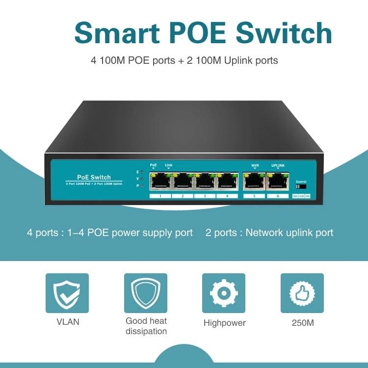 6 Ports 100Mbps Network Switch 48V Fast Ethernet POE Switch With 4Ports POE + 1 Uplink + 1 NVR for AP/IP Cameras
