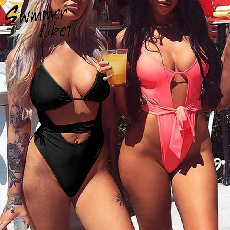 9ef3f59e03 ... Sexy black one piece swimsuit female bathing suit Brazilian thong bikini  2019 Push up bandage swimwear ...