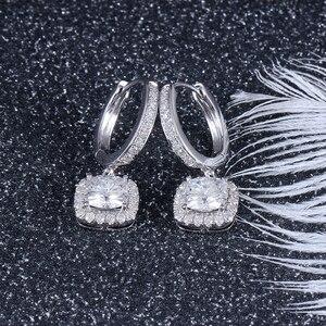 Image 3 - DovEggs 14K 585 or blanc Center 1.1ct 6*6mm F couleur coussin coupe Moissanite diamant boucles doreilles goutte pour les femmes or Halo boucle doreille