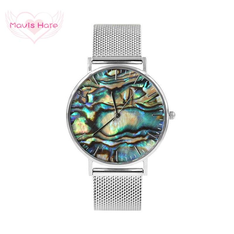 Mavis Hare Echt Abalone Silber Mesh Uhren Frauen Ozean Serie Handgelenk Uhren mit Edelstahl Mesh Armband Bands