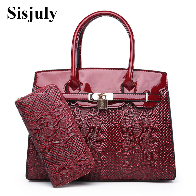Sisjuly Serpentine Leather Bag Women Fashion Lock Coin Purses And Handbags Casual Tote Bag 2018 Big Shoulder Crossbody Bags Sac sisjuly фуксин xl