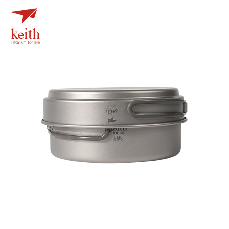 Keith Titanium Cookware Foldable Cookware Outdoor Camping Bowls Camping Pot Sets Cooking Pot 1.25L+ Frying Pan 800ml Ti6017 nz titanium cookware 1200 ml