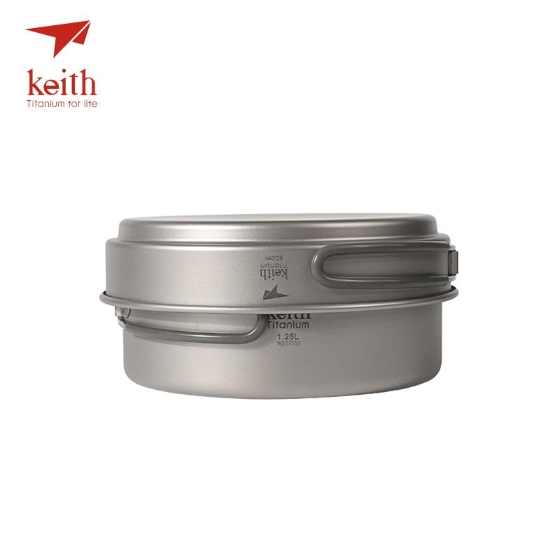 Keith Titanium Cookware Foldable Cookware Outdoor Camping Bowls Camping Pot Sets Cooking Pot 1.25L+ Frying Pan 800ml Ti6017