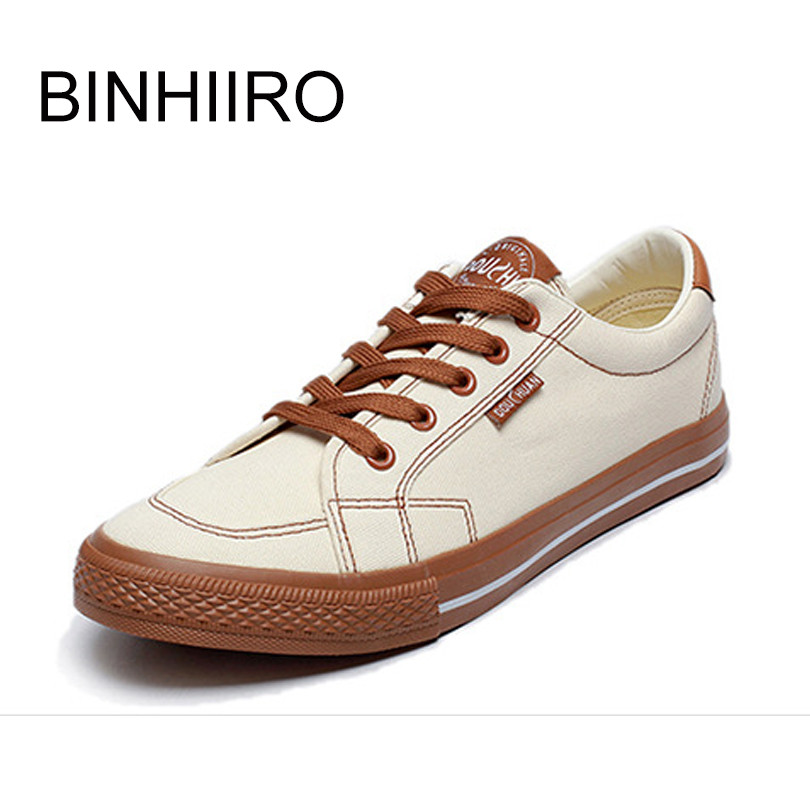 BINHIIRO Spring Men's Vulcanize Shoes Canvas Fashion Solid Lace-up Casual Shoes Rubber Flat Sneakers Casual Male Shoes 2019