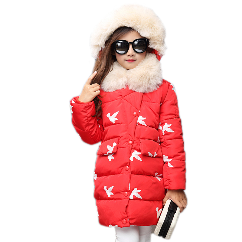 Kids Winter Jackets For Girls Cotton Coats 2017 New Thicken Warm Fur Hooded Winter Parkas Long Snowsuits Children Outerwear fashion girl thicken snowsuit winter jackets for girls children down coats outerwear warm hooded clothes big kids clothing gh236