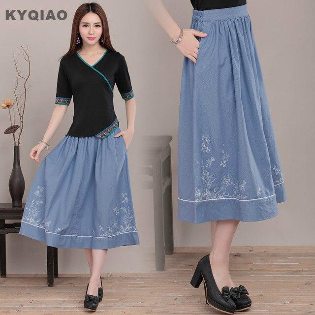8d39a198d9 KYQIAO Mori girls Japanese style vintage long umbrella blue midi skirt for  women spring autumn ethnic elegant skirts longuette