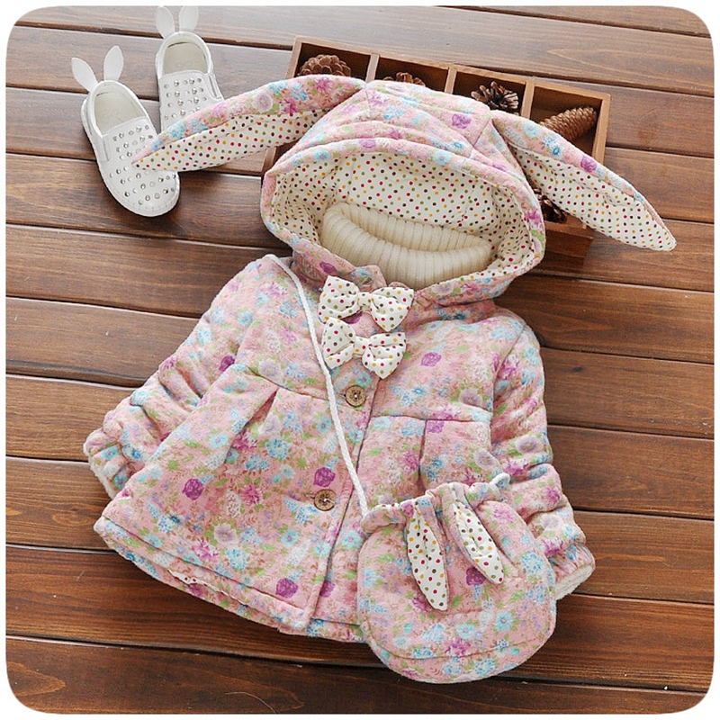 Winter Baby Girls Floral Print Cute Rabbit Ear Hooded Princess Bow Jacket Coat Kids Thick Outerwear + Bag casaco roupas de bebe