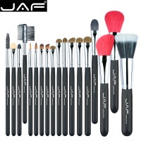 JAF 18 Pcs Make Up Brush Set Natural Super Soft Red Goat Hair Pony Horse Hair
