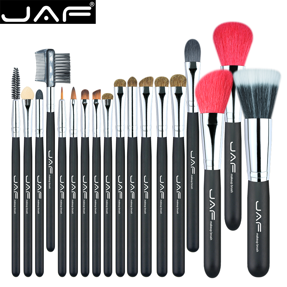 JAF 18 Pcs Make Up Brush Set Natural Super Soft Red Goat Hair & Pony Horse Hair Studio Beauty Artist Makeup Brushes J1813AY-B