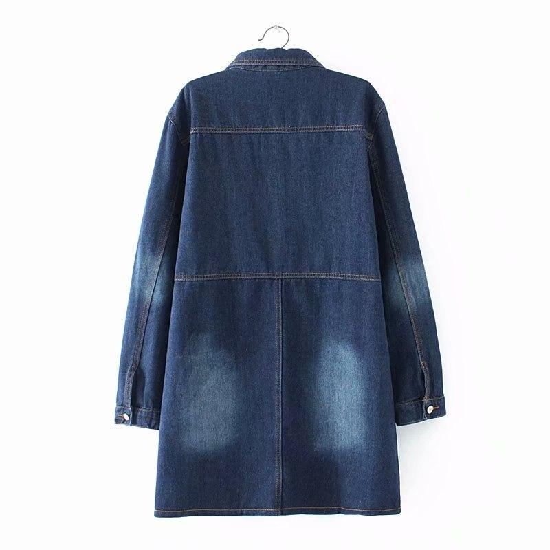 Col down Turn Dames Tranchée Automne Manteau Outwear La Femmes Plus Bleu 4xl Taille Surdimensionné Femelle Denim 2018 Poches U0XY4qB