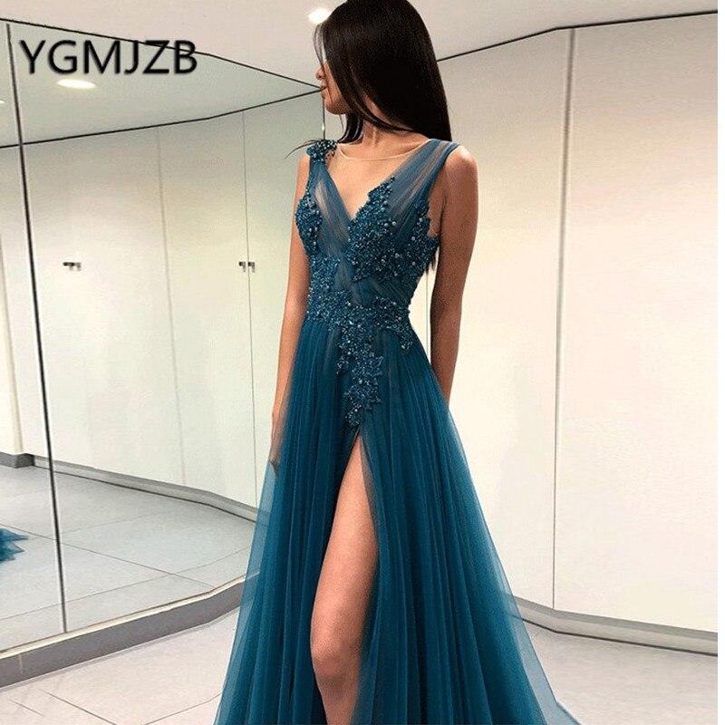 Robe De Soiree 2019 Long Evening Dresses A-line V-neck High Side Slit Beaded Appliques Lace Women Formal Dress Evening Gown