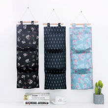 Pick up in creative New style multi-functional hanging storage bag wall-mounted floral Oxford cloth multi-layer