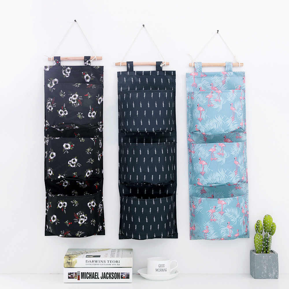 ec15b0fb1fee Pick up in creative New style multi-functional hanging storage hanging bag  wall-mounted floral Oxford cloth multi-layer storage