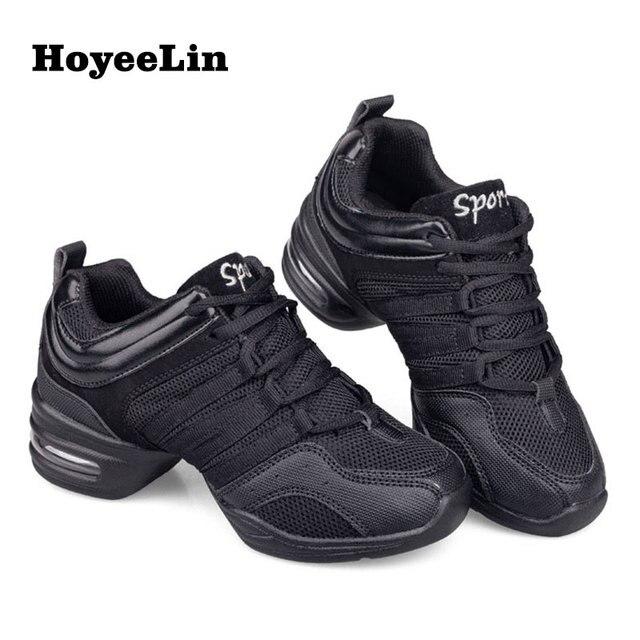 HoYeeLin Mesh caz ayakkabı kadın bayanlar Modern yumuşak taban dans Sneakers nefes hafif dans spor ayakkabı