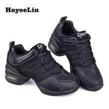 Hoyeelin sapato feminino de malha jazz, tênis para dança, malha, macio, moderno, respirável, leve