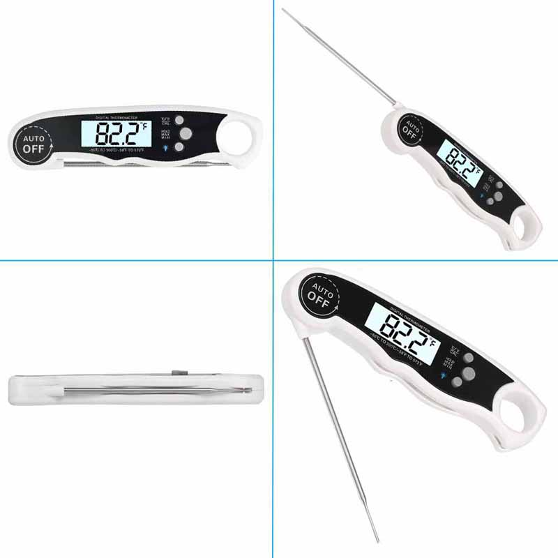 EAAGD Waterproof and Instant Read Food Thermometer with Calibration and Backlight Functions including Long Folding Probe 12