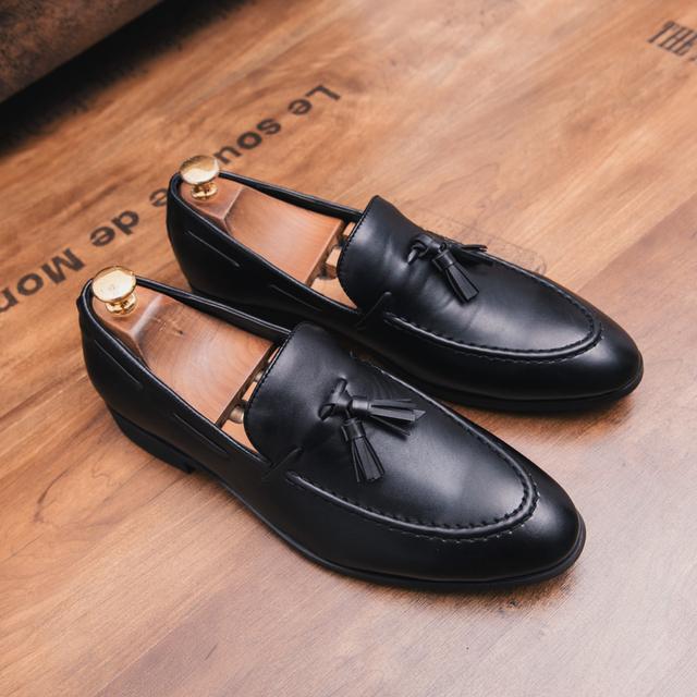 fashion formal tassel men leather shoes luxury brand italian business male footwear slip on dress elegant oxford shoes for men