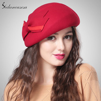 Sedancasase South Korea Hat Fashion Women Autumn Winter British Berets Wool Blower Hat Sweet Bucket Hat