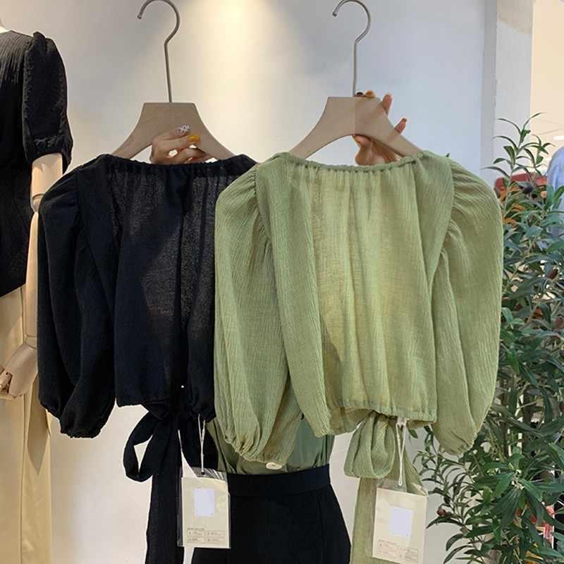 TWOTWINSTYLE Verão Camisa Sem Encosto Para As Mulheres O Pescoço Puff Luva Lace Up Chiffon Blusa Feminina Roupas Da Moda 2019 Coreano
