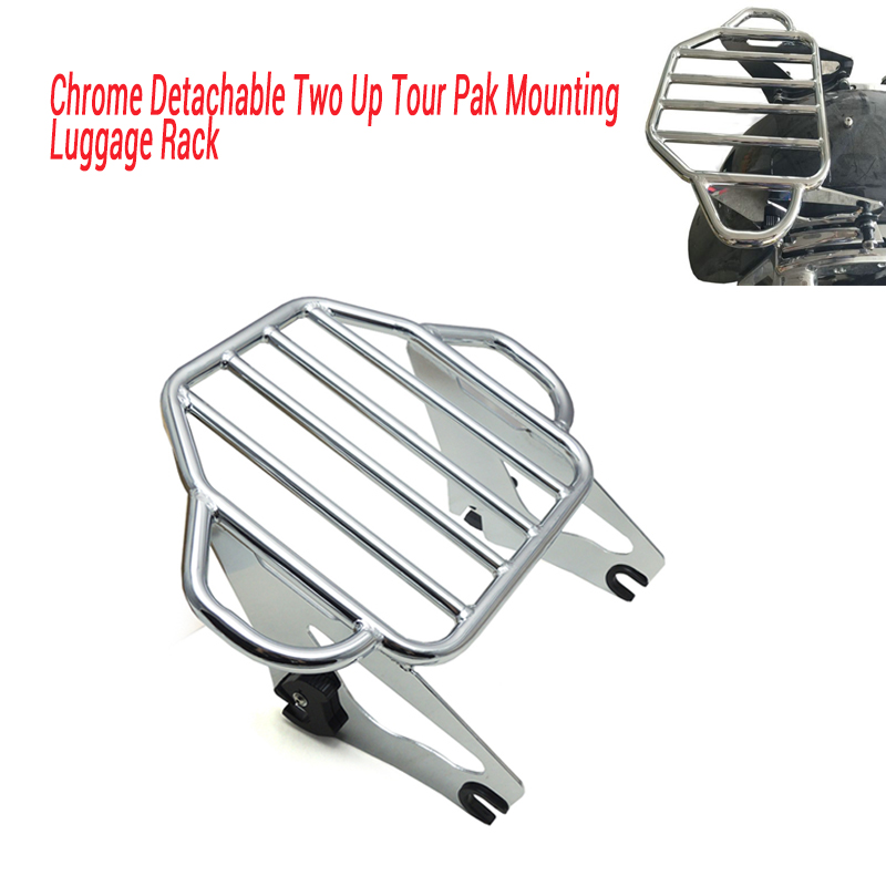 For motorcycle parts Chrome Detachable Two Up Tour Pak Mounting Luggage Rack For Harley Touring 2009-2016 motorcycle bike parts custom rear luggage rack mount pole with american usa chrome flag for harley