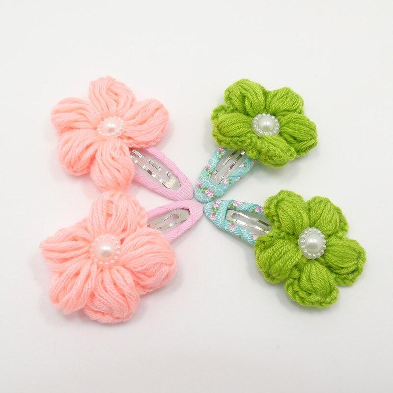 20 unids/lote tejido a mano pinzas para el cabello flor luz verde rosa horquillas