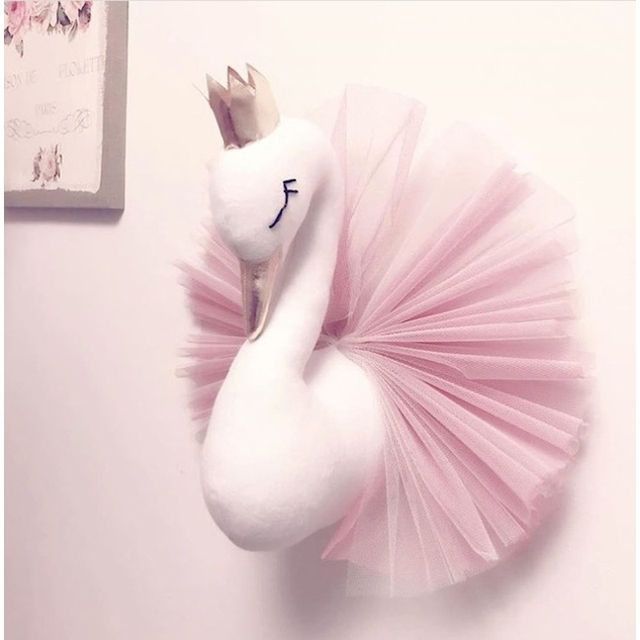 Kids Room Decoration Baby Pillow Swan Crown Gauze Pillows Cushion Girls Sleeping Dolls Wall Hangs Photography Props Toys