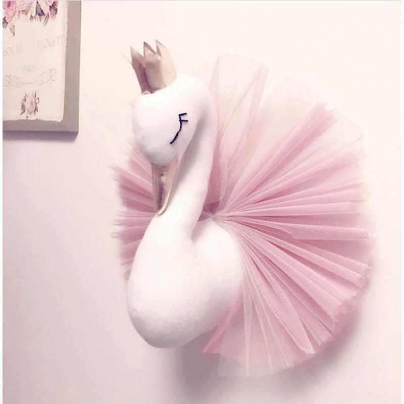 Kids Room Decoration Baby Pillow Swan Crown Gauze Pillows Cushion Girls Sleeping Dolls Wall Hangs Stuffed Animal Heads Toys