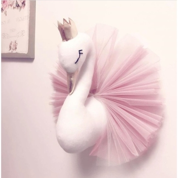 Kids Room Decoration Baby Pillow Swan Crown Gauze Pillows Cushion Girls Sleeping Dolls Wall Hangs Stuffed