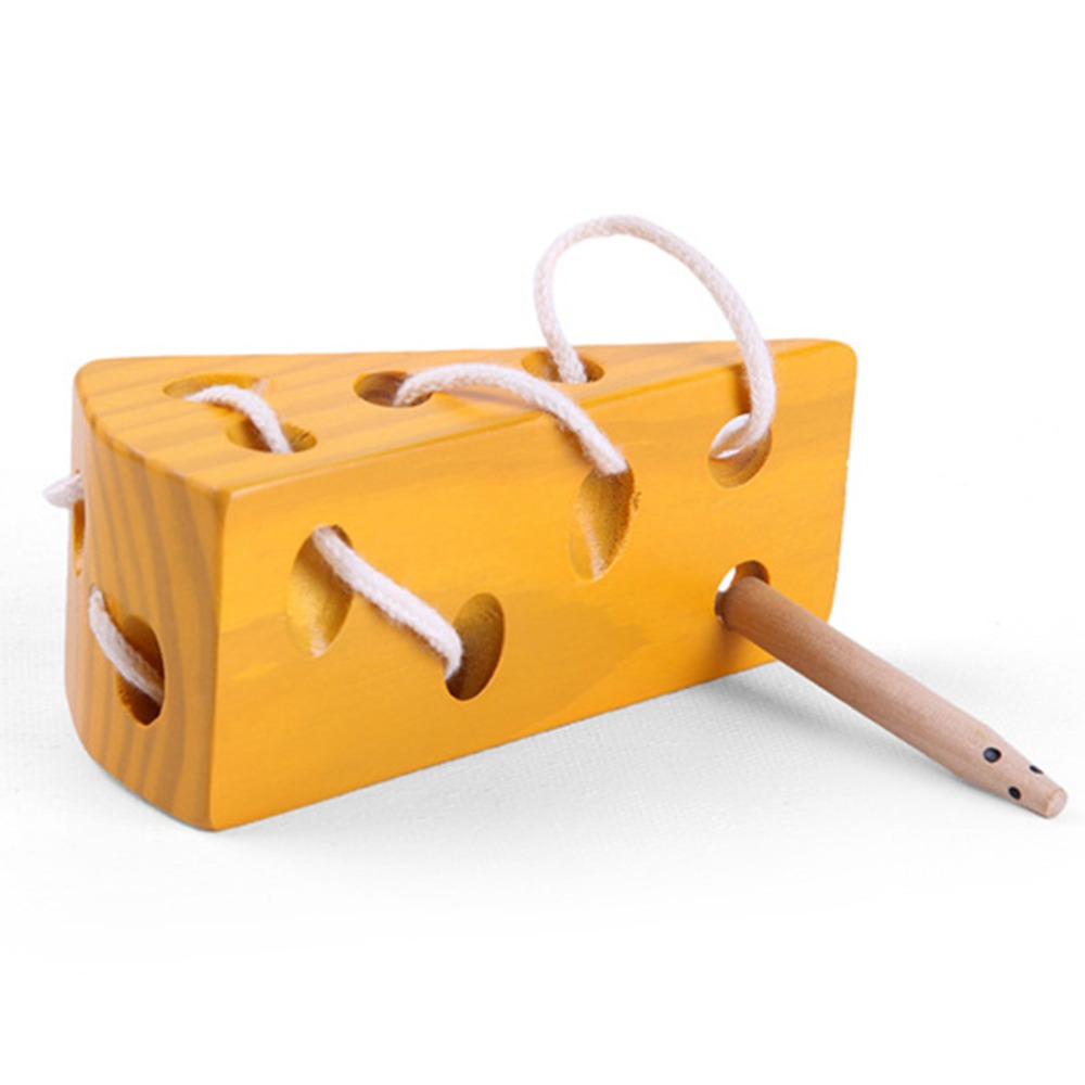 Early Learning Education Toys Wooden Education Baby Mouse Teaching Montessori Mathematics Learning Toy Thread Cheese Plaything
