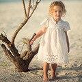 Niña Vestido de Encaje de Algodón Para Niños 2017 Nueva Llegada Del Verano Ropa de los niños Vestido de Princesa de Encaje Blanco Lindo Coreano Delgado Tamaño 100-140