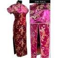 Borgoña mujeres Chinas de Satén de Poliéster Qipao Largo cheong-sam Vestido de Dragón Phenix Sml XL XXL XXXL 4XL 5XL 6XL J3092