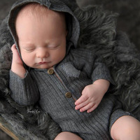 Newborn Photography Props Hooded Romper Long Sleeve Newborn Boy Outfit Photography Accessories Baby Overalls Bebe Fotos