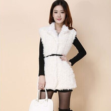 Fashion Winter Women's White Plush Vest Turn-down Collar Faux Fur Vest Coat Female Long Waistcoat Outwear Jacket Colete Feminino
