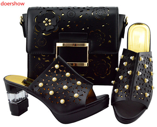doershow beauty Lady Italian Shoes and Bag Set red color African Shoes and Matching Bags Italian Nigerian Shoes and Bag  JZS1-44