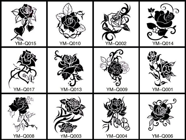 12patternsset 66cm waterproof temporary tattoo sticker flower 12patternsset 66cm waterproof temporary tattoo sticker flower black white rose design men mightylinksfo Image collections