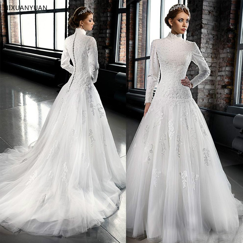 Vintange Palace Style A Line 2019 Long Wedding Dress Vestido De Novia Long Sleeves High Neck Beading Appliques Bridal Gowns