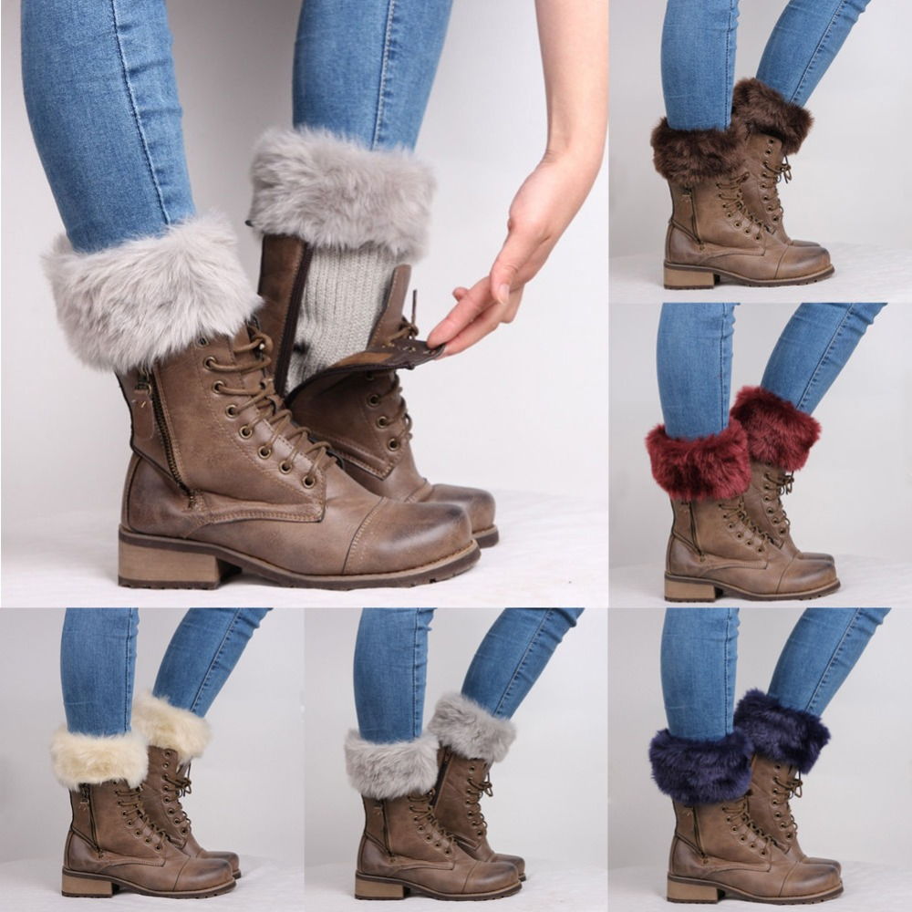 Womens Crochet Knit Fur Leg Warmer Cuff Toppers Boot Shoes Socks Leggings UK