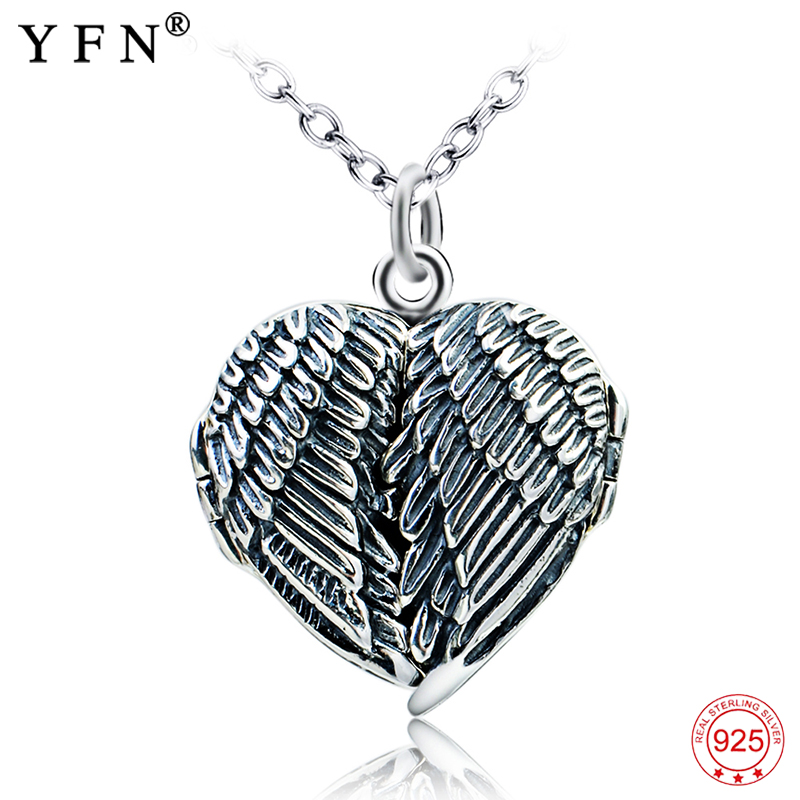 Genuine 925 Sterling Silver Heart Necklace Antique Silver Angel Wings Design Memory Photo Frame Pendants Necklaces Gifts GNX0708 silver wings silver wings 31mc0198 38 44