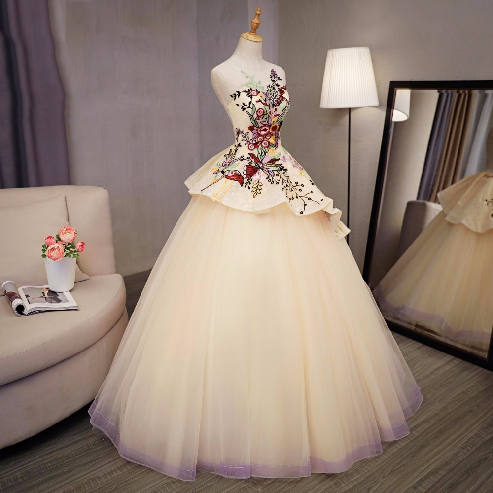 Colorful Embroidery Evening Ball Gowns Beige Light Yellow Prom Ball ...