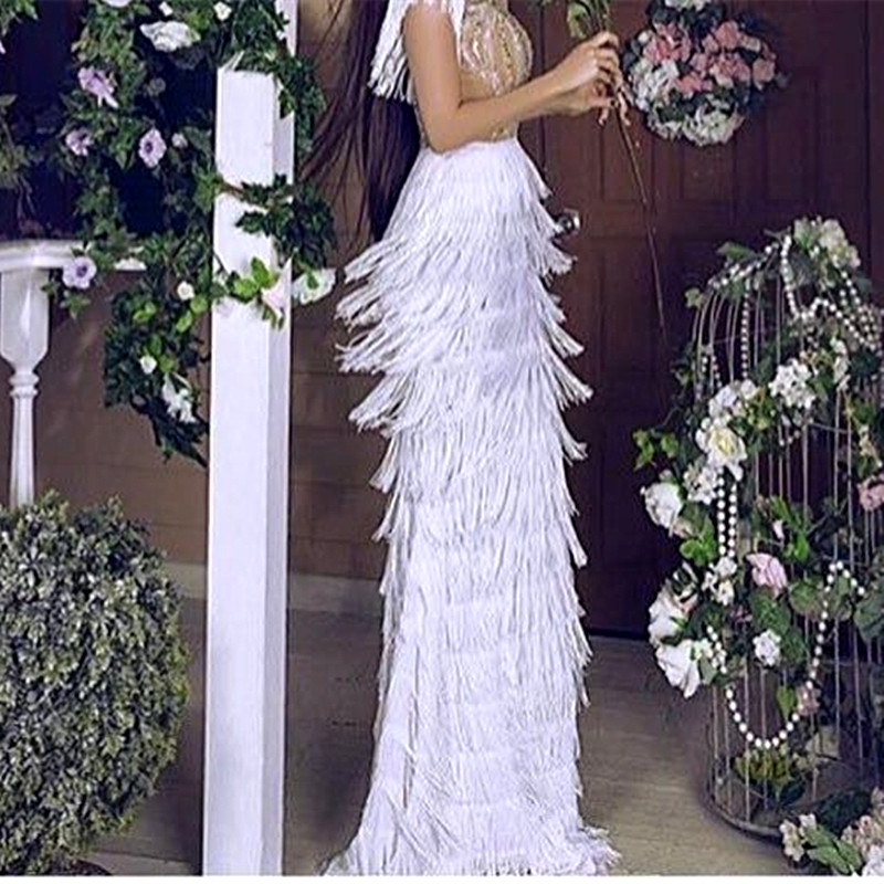 Ever Pretty Ivory Mermaid Long Sleeve Prom Dresses 2017 Rhinestone Feathered Robe De Soiree Elegant Long Evening Dresses