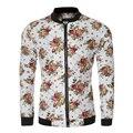 Bape Куртка Мужчины Урожай Цветочные Печатный Куртки 2016 Новый Молния Мужчины Пальто Slim Fit Кардиган Crewneck Пальто Случайные Уличной
