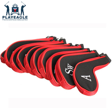PLAYEAGLE 10 pcs/set Red/Black ,blue Zippered Golf Club Head Covers Iron Headcovers
