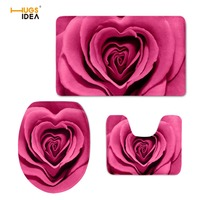 HUGSIDEA 3D Red Pretty Flower Rose Printing Toilet Seat Cover Mat 3PCS Set Warmer Soft Bathroom