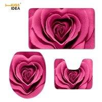 HUGSIDEA 3D Rouge Jolie Fleur Rose Impression Siège De Toilette Couverture Tapis 3 PCS Chaud Réglé Doux Salle De Bains Tapis Accessoires De Toilette ensemble